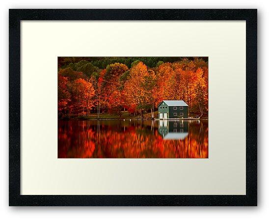 Boathouse at Night by (Tallow) Dave  Van de Laar