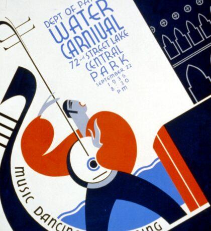 Vintage Gondola Music Dancing Singing WPA Poster Sticker