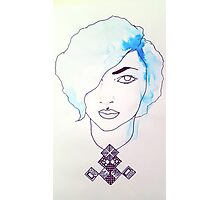 Blue Haired Woman With Pattern Photographic Print