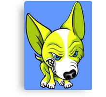 Angry Chihuahua White & Yellow Canvas Print