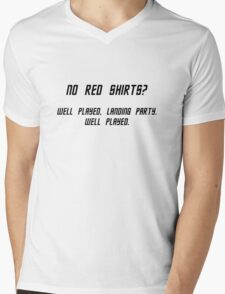 No Red Shirts? Mens V-Neck T-Shirt