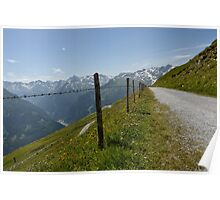 Mountains and Barbed Wire Poster