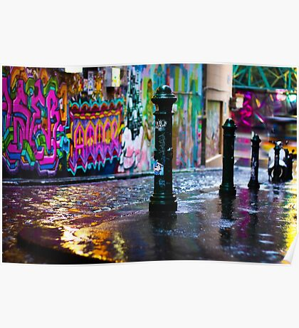 Bollards in a Rainy Graffiti Lane Poster