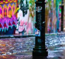 Bollards in a Rainy Graffiti Lane Sticker