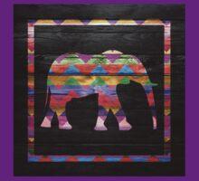 Elephant Chevron Pattern on Wood by Nhan Ngo