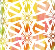 White Geometric Pattern on bright color wash  Sticker
