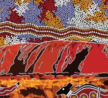 Uluru   Ayers Rock - Authentic Aboriginal Arts Sticker