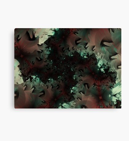 Red Green Snowflake Abstract Design Canvas Print