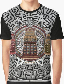 Aztec Time Police Droid Pencils sketch Art Graphic T-Shirt