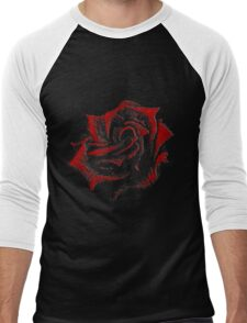 Hand-Painted Red Rose using Acrylic Paints Men's Baseball ¾ T-Shirt