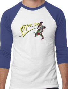 Oldies Ski or Die - Retro Pixel DOS game fan shirt Men's Baseball ¾ T-Shirt