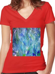 'Seattle Seahawks' Inspired 'Rain Painting' Raw Women's Fitted V-Neck T-Shirt