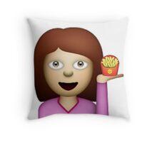 Girl with Fries Emoji Throw Pillow