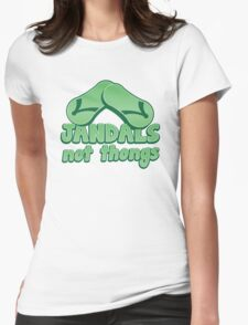 JANDALS not thongs with funny New Zealand  Womens Fitted T-Shirt