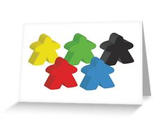 Set of 5 meeples (Board game tokens) Greeting Card