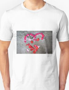 Valentines concept heart made with flower petals T-Shirt