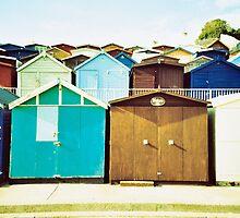 English Beach Huts  by BlackPigeon