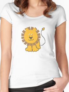 Funny cartoon baby lion Women's Fitted Scoop T-Shirt