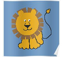 Funny cartoon baby lion Poster