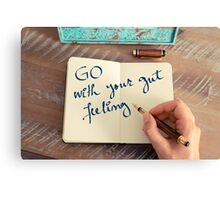 Motivational concept with handwritten text GO WITH YOUR GUT FEELING Canvas Print