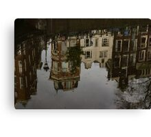 Amsterdam - Moody Canal Reflections in the Rain Canvas Print