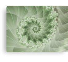 Beautiful Green Spiral Fractal  Canvas Print