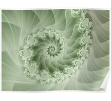 Beautiful Green Spiral Fractal  Poster