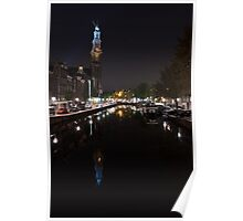 Magical Amsterdam Night - Blue Crown Skyline Poster