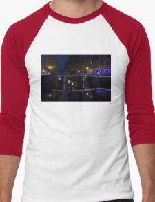 Magical Amsterdam Night - Blue, White and Purple Lights Symmetry Men's Baseball ¾ T-Shirt