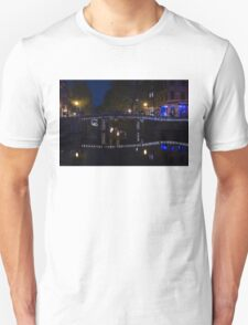 Magical Amsterdam Night - Blue, White and Purple Lights Symmetry Unisex T-Shirt