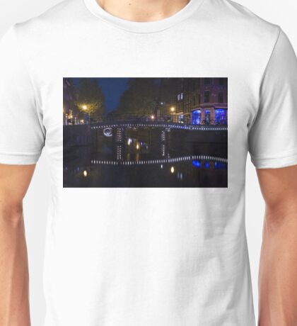 Magical Amsterdam Night - Blue, White and Purple Lights Symmetry Unisex T-Shirt