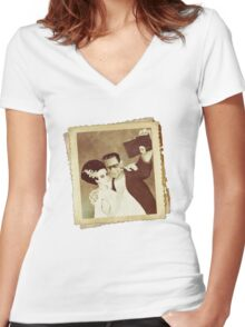 1937 Valentines Day Photo Women's Fitted V-Neck T-Shirt