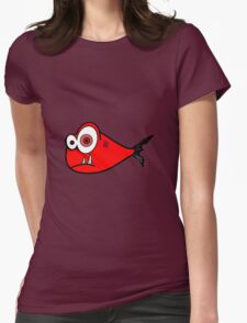 Red big eyed cartoon fish Womens Fitted T-Shirt