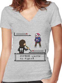 The Walking Dead / Pokemon Fanart Women's Fitted V-Neck T-Shirt