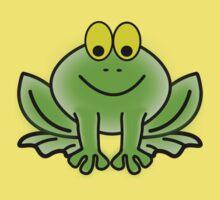 Green Cartoon frog Kids Tee