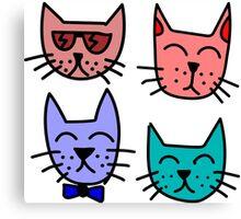 Cool Cartoon Cats Canvas Print