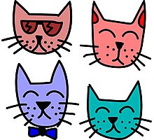 Cool Cartoon Cats Photographic Print