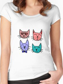 Cool Cartoon Cats Women's Fitted Scoop T-Shirt