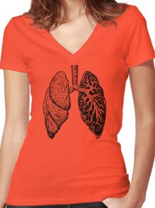 drawn black and white lungs Women's Fitted V-Neck T-Shirt