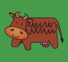 Cartoon Brown Cow Baby Tee