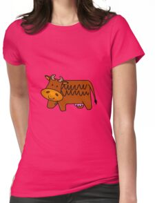 Cartoon Brown Cow Womens Fitted T-Shirt