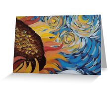 Vincent Van Gogh Sunflowers Starry Night Greeting Card
