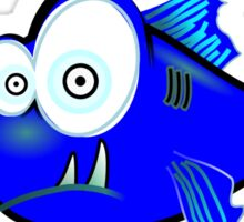 Cartoon Big eyed blue fish Sticker