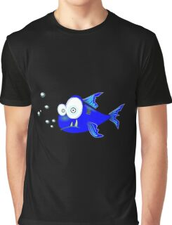 Cartoon Big eyed blue fish Graphic T-Shirt
