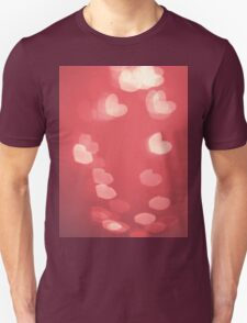 Red heart bokeh blur valentines day T-Shirt