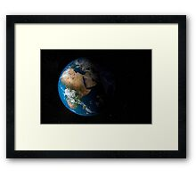 Full Earth showing simulated clouds over Africa. Framed Print