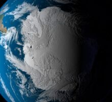 Ful Earth showing simulated clouds over Antarctica. Sticker