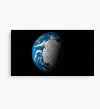 Full Earth showing simulated clouds over Antarctica. Canvas Print