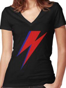 DAVID BOWIE LIGHTENING Women's Fitted V-Neck T-Shirt