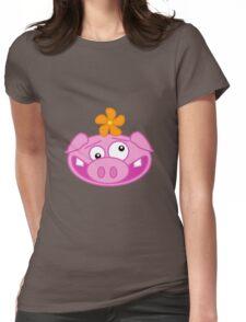 Silly Cartoon Piggie Womens Fitted T-Shirt